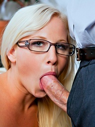 Sexy golden-haired student learns..