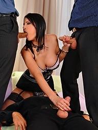 Hot boss lady Abbie Cat enjoys a payment bonus gang..