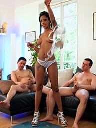 Ideal Cuban babe Katia D Lys drilled by two large..